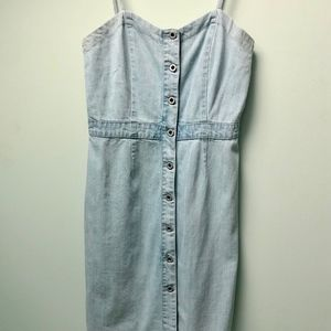 Jack Wills Light Washed Denim Dress, Size 4
